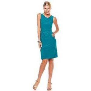 Tiana B. Teal Ruched Faux Wrap Dress
